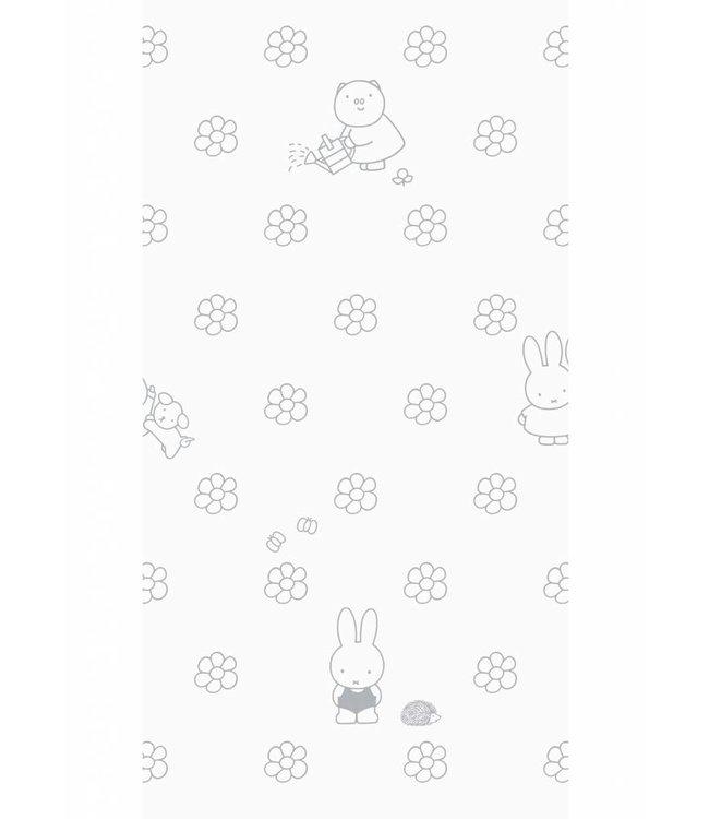 Miffy tapete Flowers, Gris, 97.4 x 280 cm