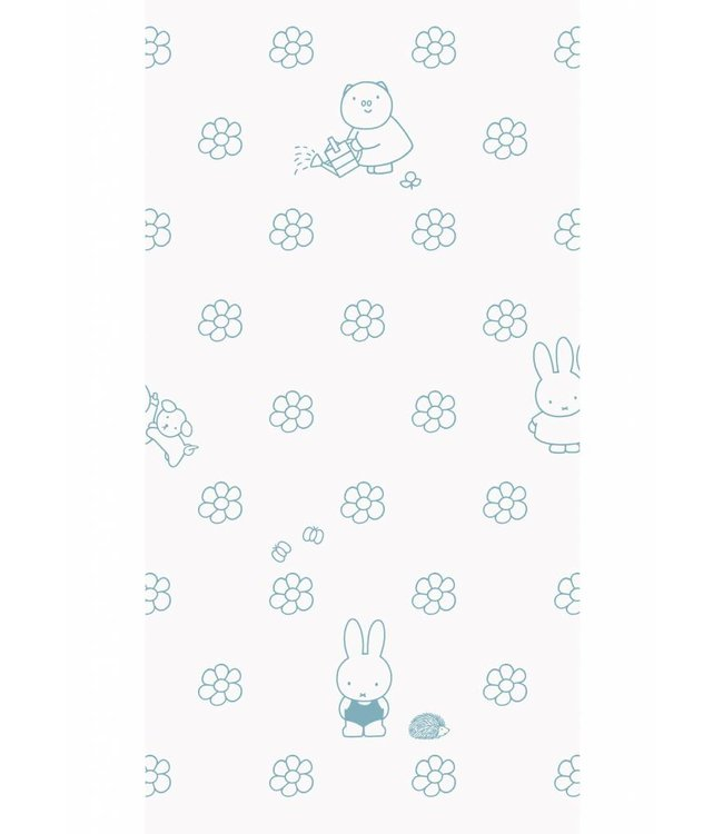Dick Bruna Miffy wallpaper Flowers, Blue, 97.4 x 280 cm