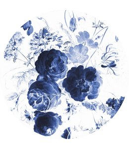 Wallpaper Circle Royal Blue Flowers