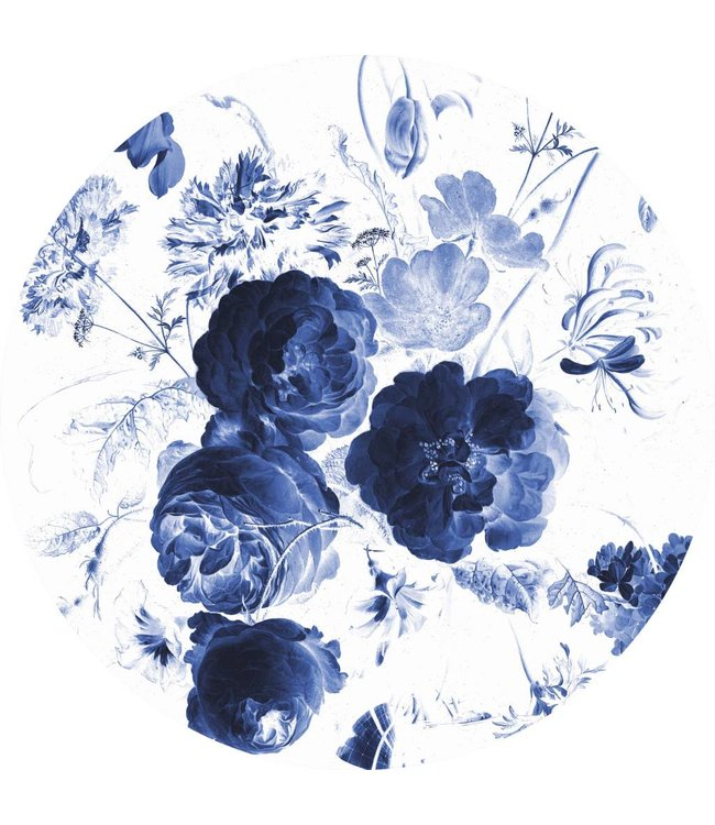 Tapetenpaneel rund Royal Blue Flowers, ø 190 cm