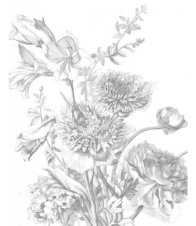 Tapetenpaneel Engraved Flowers, 142.5 x 180 cm