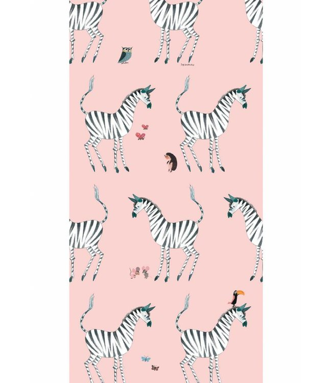 Fiep Westendorp Fiep Westendorp behang Zebra, Roze, 146.1 x 280 cm