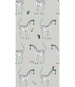 Behang Zebra, Grijs