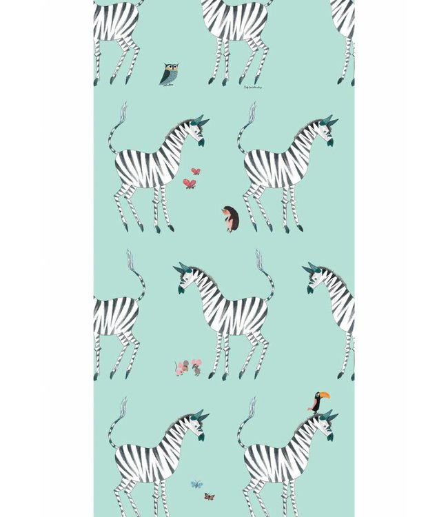 Wallpaper for kids Zebra, Mint, 97.4 x 280 cm