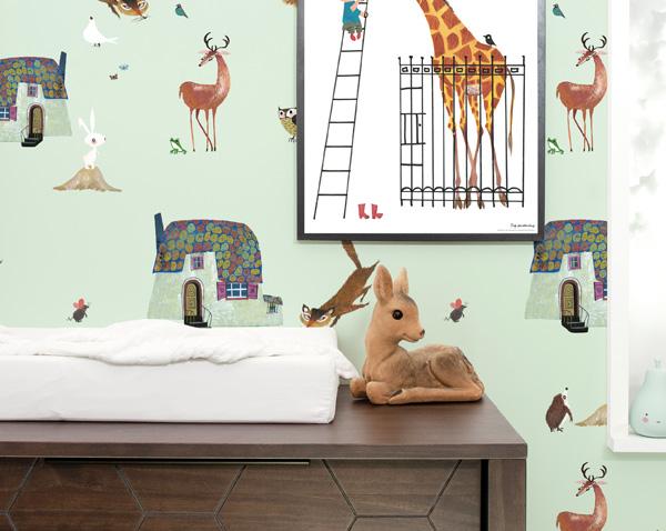 Behang Kinderkamer Stoer : Behang muurstickers en prints op hout kek amsterdam kek