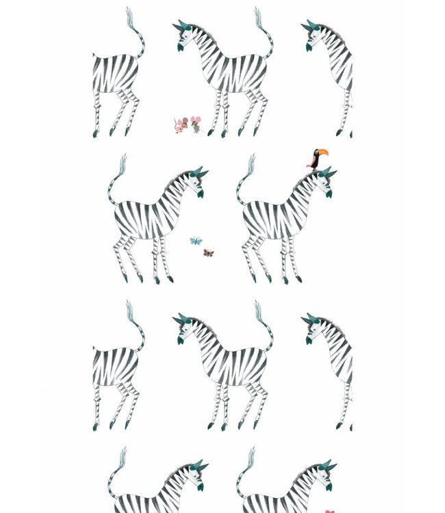 Wallpaper for kids Zebra, White, 97.4 x 280 cm