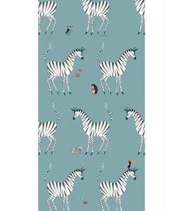 Fiep Westendorp Wallpaper Zebra, Petrol