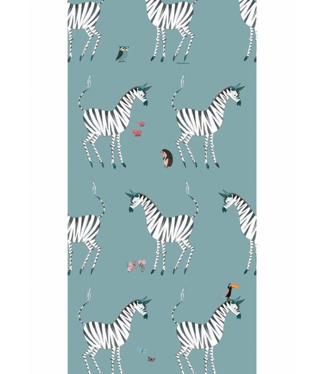 Tapete für Kinderzimmer Zebra, Petrol, 97.4 x 280 cm