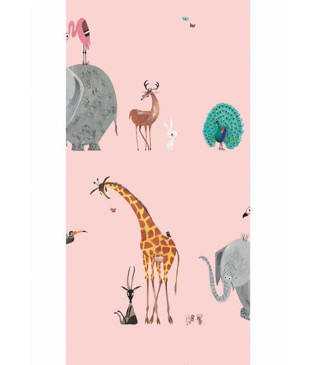 Tapete für Kinderzimmer Animal Mix, Rosa, 97.4 x 280 cm