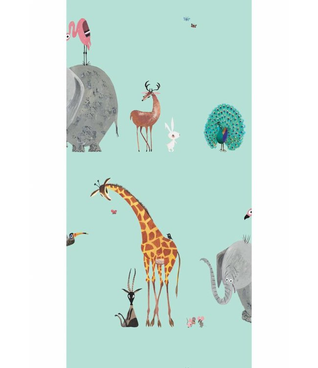 Wallpaper for kids Animal Mix, Mint, 97.4 x 280 cm