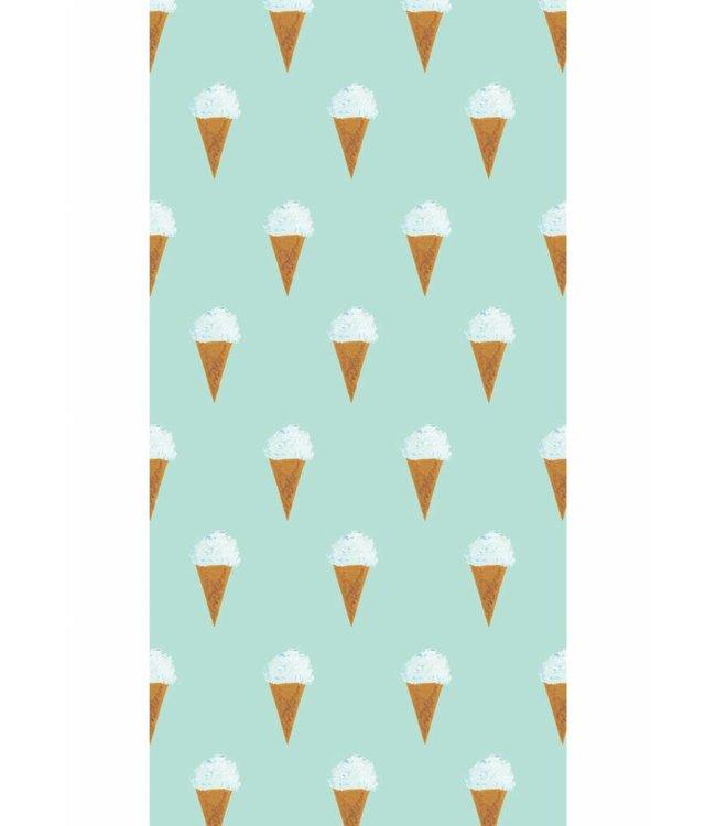 Fiep Westendorp Tapete für Kinderzimmer Eiscreme, Mint, 97.4 x 280 cm