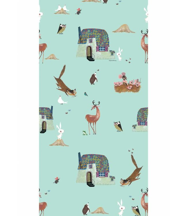 Wallpaper for kids Forest Animals, Mint, 97.4 x 280 cm