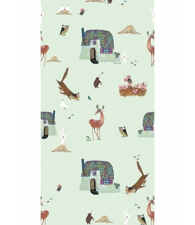 Tapete für Kinderzimmer Forest Animals, Grun, 97.4 x 280 cm
