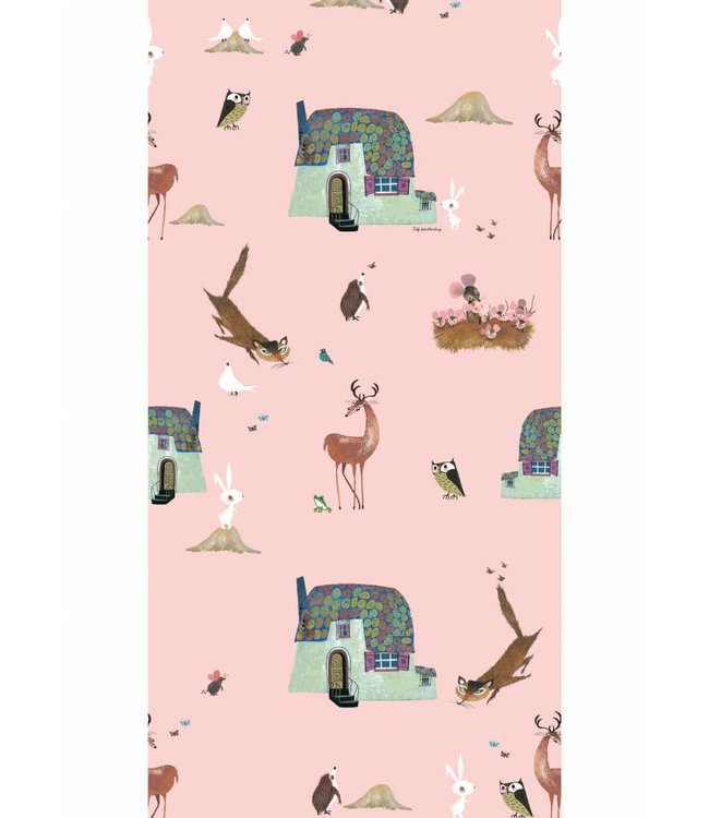 Wallpaper for kids Forest Animals, Pink, 97.4 x 280 cm