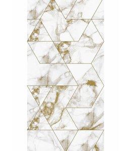 Behang Marmer Mosaic, wit-goud