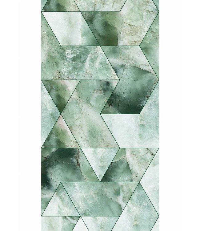 Tapete Marble Mosaic, Grün, 97.4 x 280 cm