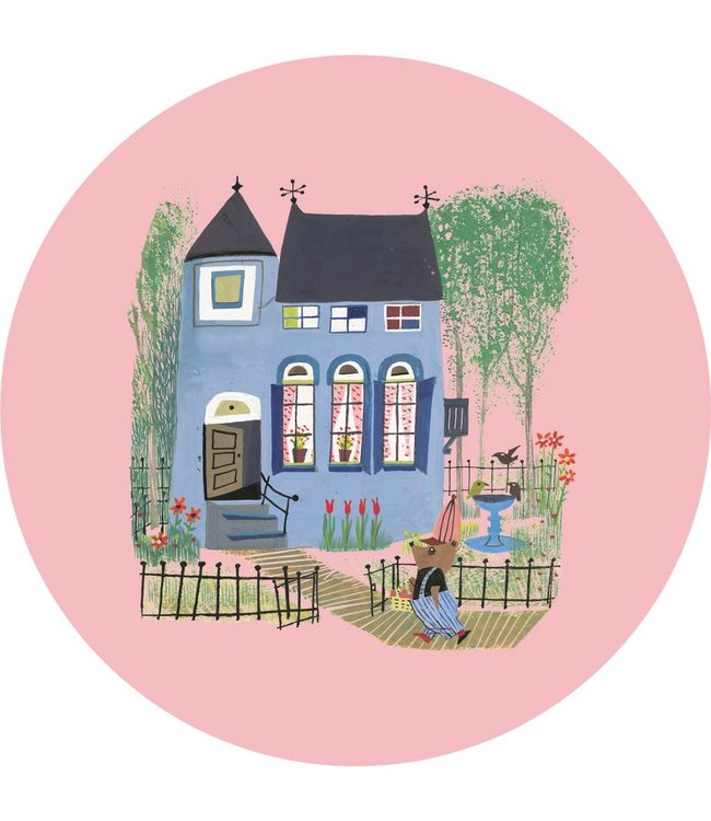 Wallpaper Circle Bear with Blue House, ø 190 cm