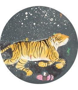 Tapetenpaneel rund Smiling Tiger