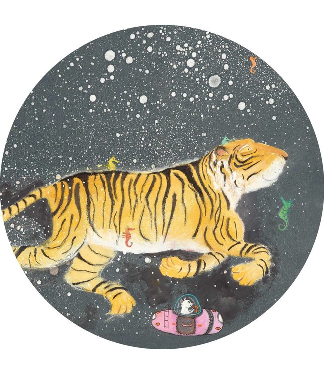 Tapetenpaneel rund Smiling Tiger, ø 190 cm