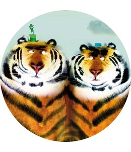 Behangcirkel Two Tigers