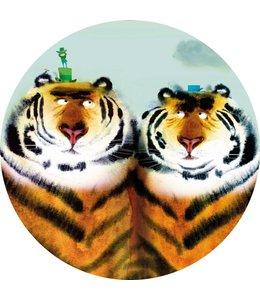 Wallpaper Circle Two Tigers