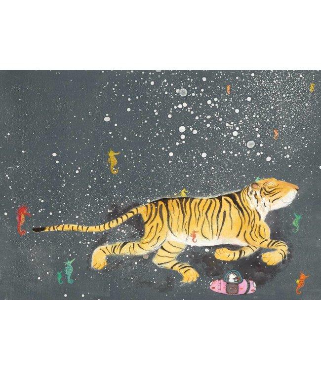 Fotobehang Smiling Tiger, 389.6 x 280 cm