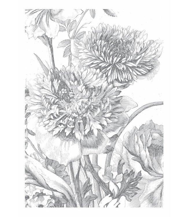 Fotobehang Engraved Flowers, 194.8 x 280 cm