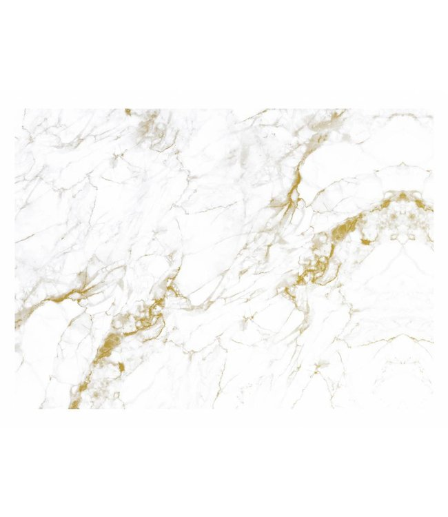 Wall Mural Marble, White-Gold, 389.6 x 280 cm