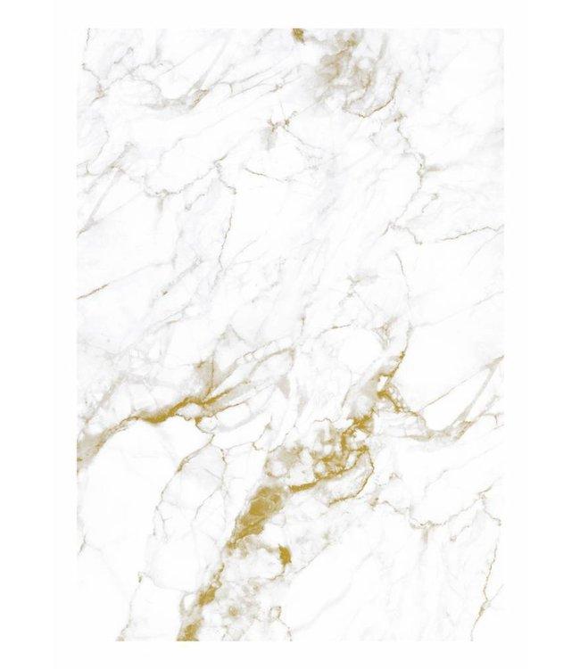Fotobehang Marble, Wit-Goud, 194.8 x 280 cm
