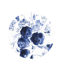 Behangcirkel Royal Blue Flowers
