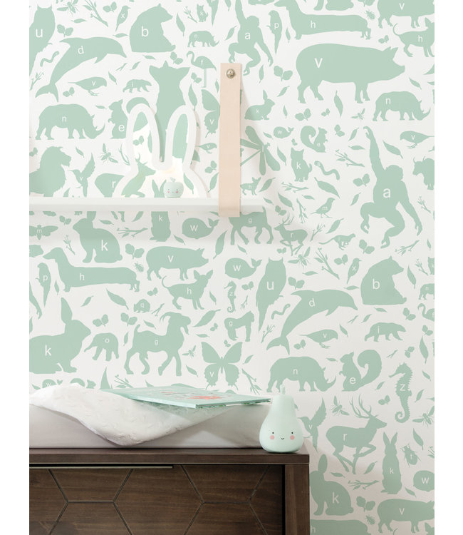 Behang ABC Animals, Groen, 146.1 x 280 cm