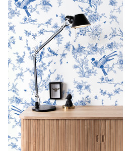 Behang Birds & Blossom, Blauw