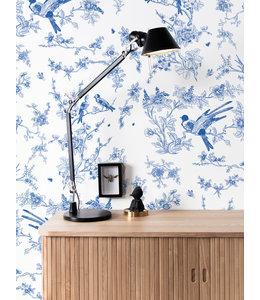 Behang Birds & Blossom, Blauw