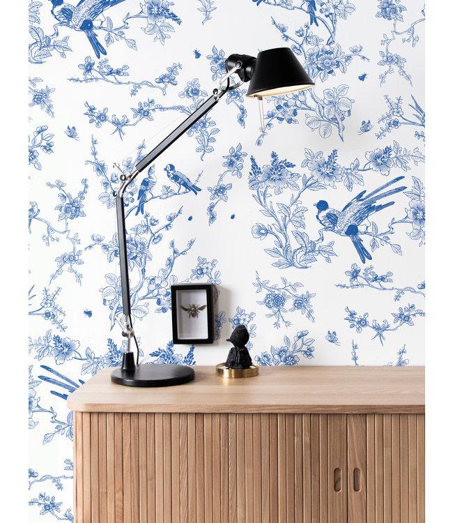 Behang Birds & Blossom, Blauw, 97.4 x 280 cm