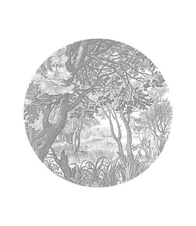 Tapetenpaneel rund Engraved Landscapes, ø 142.5 cm
