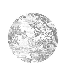 Wallpaper Circle Engraved Landscapes
