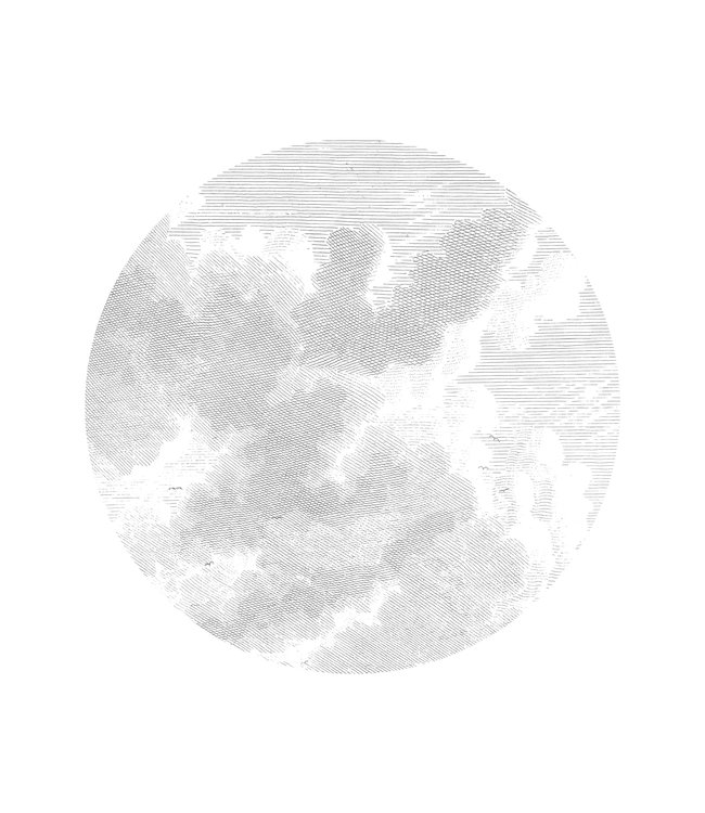 Wallpaper Circle Engraved Clouds, ø 142.5 cm