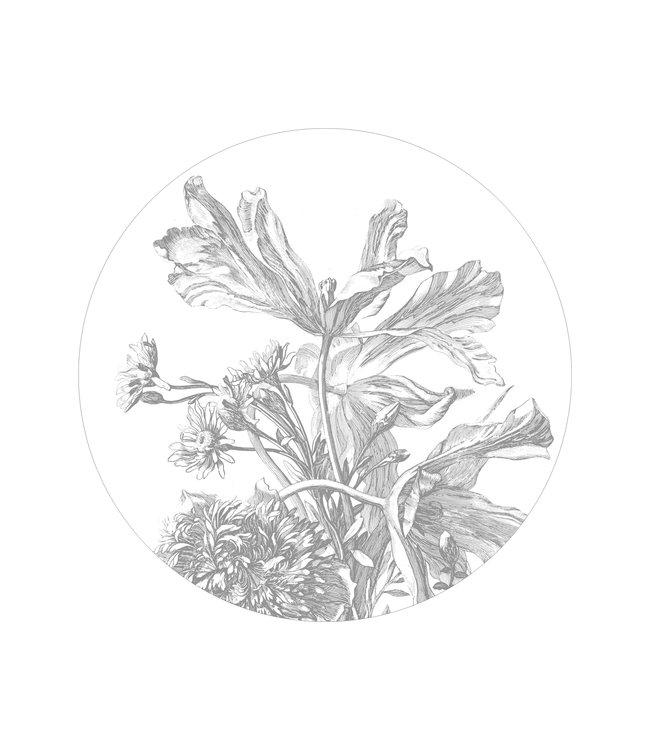 Tapetenpaneel rund Engraved Flowers, ø 142.5 cm