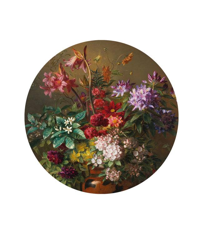 Behangcirkel Golden Age Flowers, ø 142.5 cm