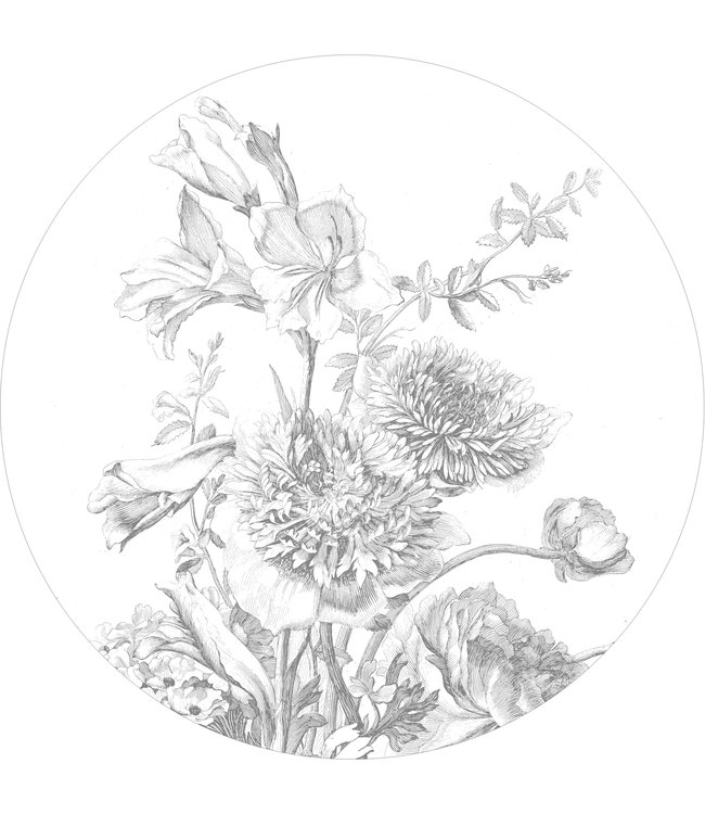 Tapetenpaneel rund Engraved Flowers, ø 190 cm