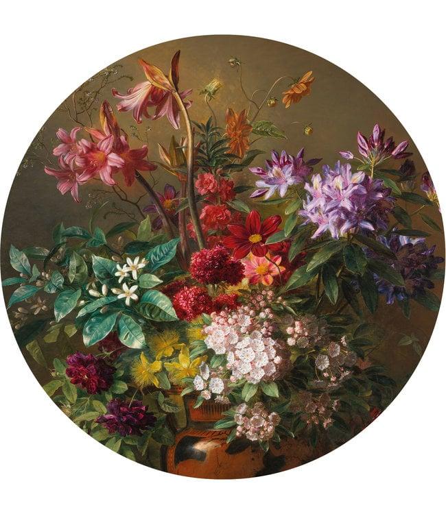 Tapetenpaneel rund Golden Age Flowers, ø 190 cm