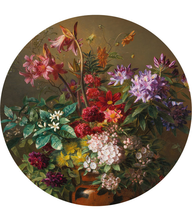 Behangcirkel Golden Age Flowers, ø 190 cm