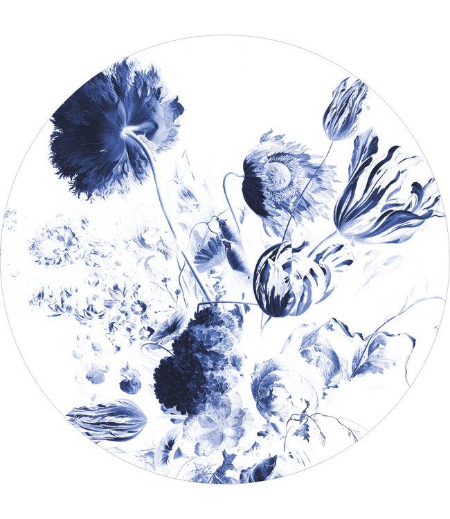 Wallpaper Circle XL Royal Blue Flowers, ø 237.5 cm