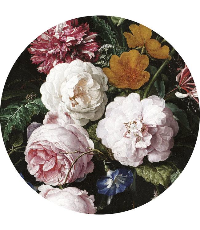 Tapetenpaneel rund XL Golden Age Flowers, ø 237.5 cm