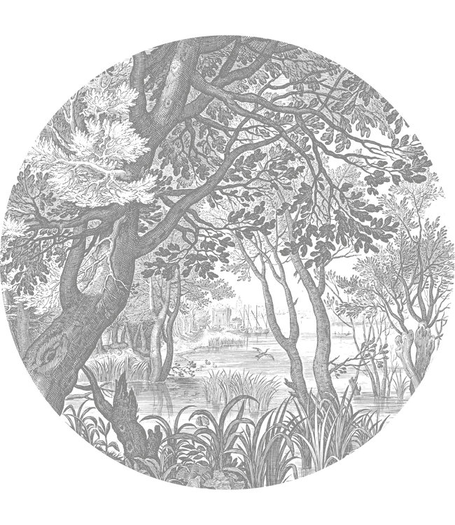 Behangcirkel XL Engraved Landscapes, ø 237.5 cm