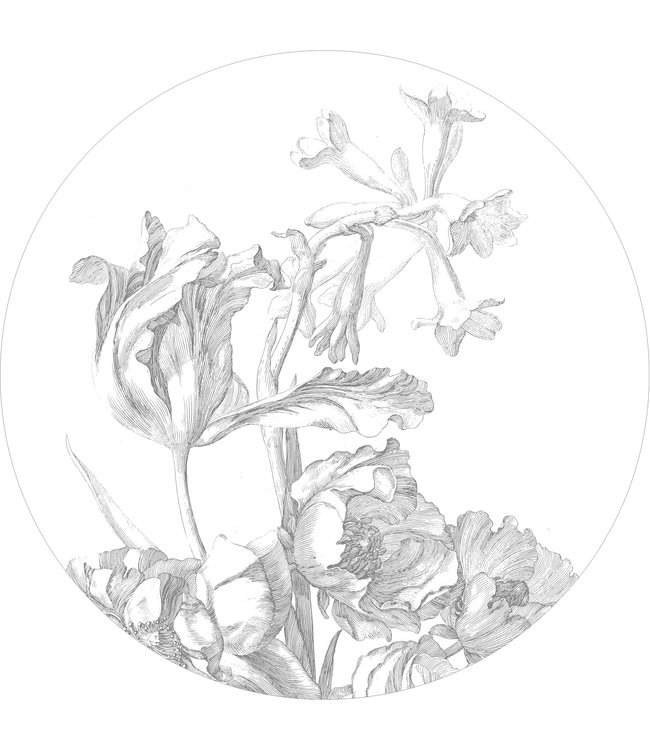 Wallpaper Circle XL Engraved Flowers, ø 237.5 cm