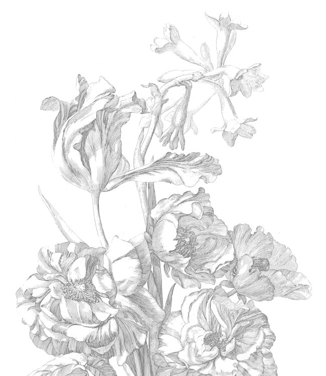 Behangpaneel XL Engraved Flowers, 190 x 220 cm