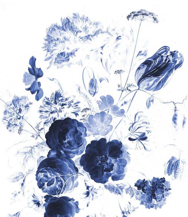 Behangpaneel XL Royal Blue Flowers, 190 x 220 cm