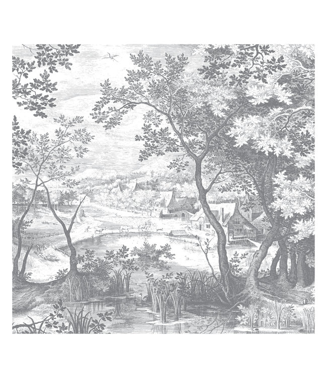 Wall Mural Engraved Landscapes, 292.2 x 280 cm