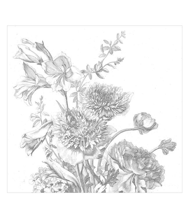 Fotobehang Engraved Flowers, 292.2 x 280 cm